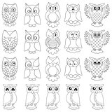 Twenty funny owls black outlines