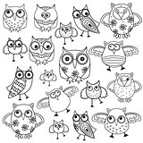 Eighty funny owls black outlines