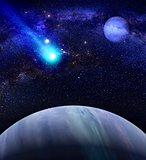Galaxy background with planet and comet