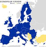 European Union Countries Political Map Outline