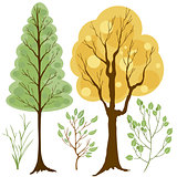 vector set of trees and branches colored