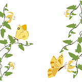 yellow butterflies and flowers 2