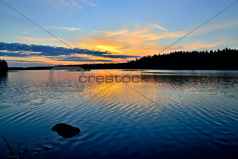 Charm of Karelian sunset. Lake Engozero, Russia