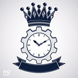 Vector retro cog wheel and clock with crown, business organizer symbol. EPS8
