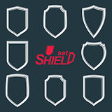 Collection of vector grayscale defense shields, protection desig