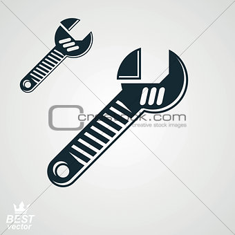 3d vector detailed adjustable wrench, includes additional versio