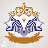 Vector stylized royal symbol. Aristocratic graphic emblem with f