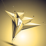 Complicated abstract gold 3D illustration, vector digital eps8 l