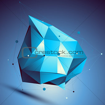 Blue 3D vector abstract design template, colorful polygonal comp