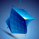Blue squared 3D vector abstract technology illustration, perspec