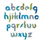 Vector bright unusual font, handwritten watercolor lowercase let