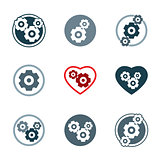 Gear system power development and progress theme unusual icons s