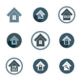 Real estate vector icons set, realty theme vector symbols collec