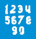 White hand painted daub numerals, collection of acrylic realisti