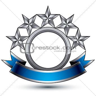 Branded golden geometric symbol with curvy ribbon, stylized silv