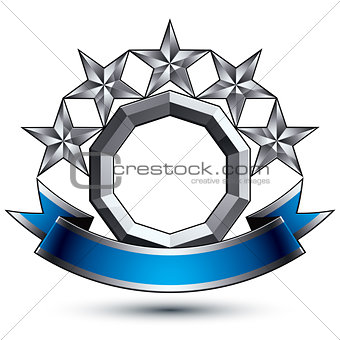 3d vector classic royal symbol, sophisticated silver round emble