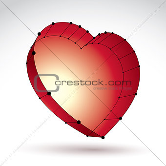 3d mesh stylish web red love heart sign isolated on white backgr