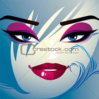 Attractive woman with stylish bright make-up and contemporary ha