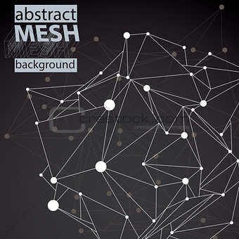 3D mesh modern stylish abstract background with asymmetric wiref