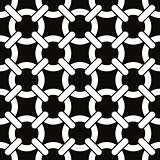 Round shapes lattice seamless pattern, black and white vector background. EPS8