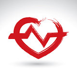 Hand drawn red heart icon, brush drawing heart sign with electro