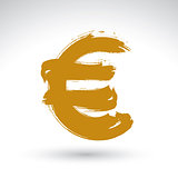 Hand-painted yellow Euro icon isolated on white background, Euro