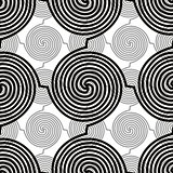 Spiral lines seamless pattern, black and white vector background. EPS8