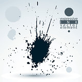 Splattered monochrome web design element, art ink blob, paintbru