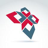 Bright complex geometric corporate element. 3d abstract emblem w