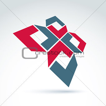 Bright complex geometric corporate element. 3d abstract emblem w