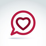 Heart over the speech bubble icon, vector conceptual stylish sym