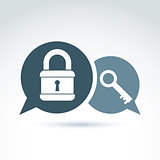 Padlock lock and key safety theme icon, vector symbol. EPS8