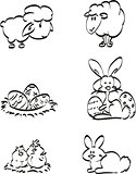 Easter symbol icons