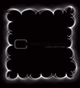 Beautiful white abstract frame of a smoke on a black background