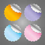 colored blank round stickers - vector illustration