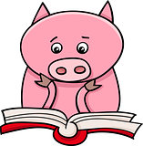 learning piglet cartoon illustration