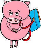 piglet with satchel cartoon illustration