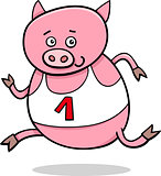 running piglet cartoon illustration