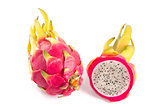 Whole and cut dragon fruits