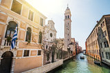 Spring view in sunny day of San Giorgio dei Greci with campanile on Rio del Greci, Venice, Veneto, Italy