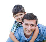 Father and Son Playing Piggyback Isolated on White