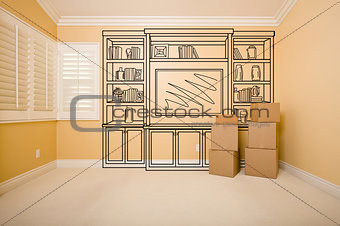 Boxes in Empty Room with Shelf Design Drawing on Wall