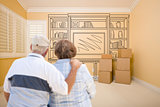 Senior Couple In Empty Room with Shelf Drawing on Wall