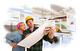 Contractor Discussing Plans with Woman, Kitchen Drawing Photo Be