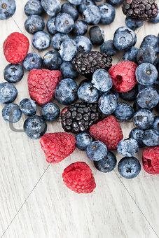 Fresh blueberry, blackberry and raspberry