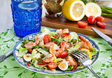 Fresh shrimps, eggs and vegetables salad