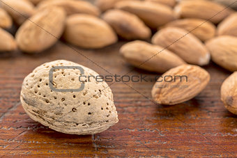 almonds on wood table