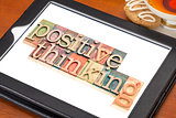 positive thinking typography  on tablet