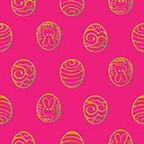 Easter seamless background. Decorated eggs on a red background