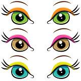 Set of pairs of eyes. vector